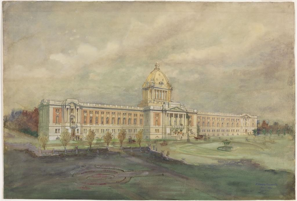 edward maxwell (1867-1923). legislative and executive building, regina, saskatchewan 1909. watercolour, pen and ink on paper 53.5 x 78.8 cm. national gallery of canada, ottawa (306). royal canadian academy of arts diploma work, deposited by the architect, montreal, 1911. photo  NGC