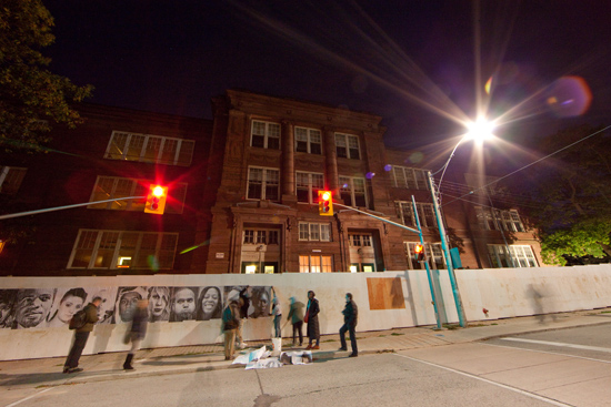 artscape youngplace, a repurposed school on shaw street in toronto. photo taken at nuit blanche in 2011. photo by garrison | mac arthur photographers.