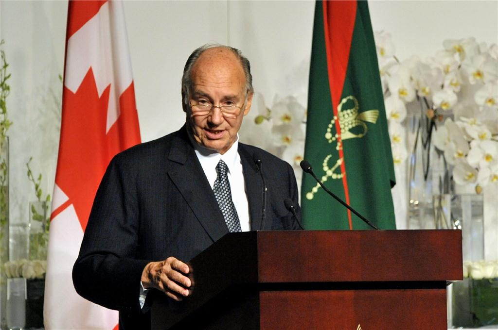 his highness the aga khan addresses the gathering at the foundation of the ismaili centre, the aga khan museum and their park in toronto. photo by AKDN/zahur ramji.