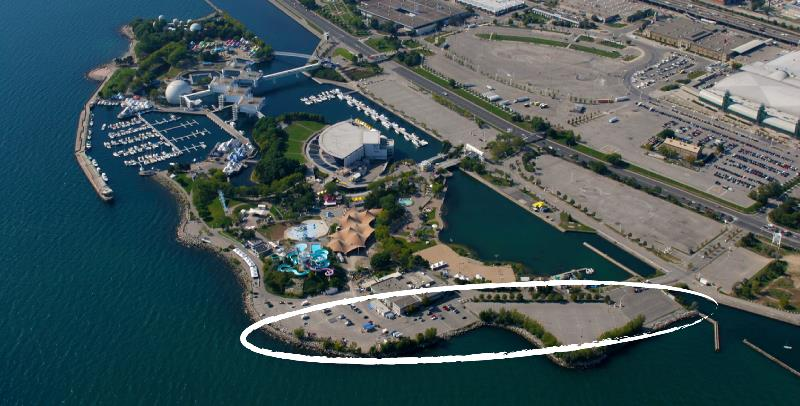 an aerial view of ontario place, indicating the portion of the east island that will be transformed into a park and waterfront trail.