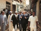 His Highness the Aga Khan tours Zanzibar Stone Town, Tanzania with local dignitaries. The Aga Khan Trust for Culture restored landmark buildings, upgraded housing and rehabilitated public spaces in the historic city centre.