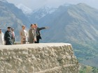 Atop the 700-year-old Baltit Fort in Pakistan, His Highness the Aga Khan converses with Stefano Bianco, director of the Historic Cities Programme.