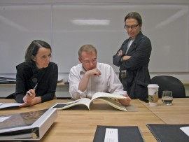 Jurors Karen Marler, Marc Simmons and Marianne McKenna carefully evaluate the 208 submissions to the 2013 awards program, many of which generated substantial discussion.