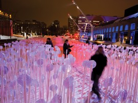 A winter installation by Montreal design firm Kanva arrays thousands of plastic stalks in long, rectangular plots across the downtown Place des Festivals. Downlights gently sweep the site, recalling sunrise and sunset over the province's wheat fields. Martine Doyon