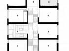 Section  1 mechanical/storage 2 bedroom 3 dining 4 kitchen 5 living 6 bedroom 7 studio 8 roof deck
