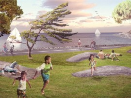 A rendering of West 8 and LANDinc's proposed new park and trail at Ontario Place in Toronto.
