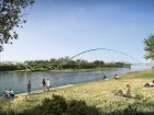 A new pedestrian bridge, currently under construction, will connect the revitalized St. Patrick's Island to East Village and Bridgeland. RFR/Halsall