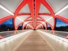 Constructed as a helical steel frame, Santiago Calatrava's single-span Peace Bridge conveys pedestrians and cyclists between downtown Calgary and Sunnyside.  Joshua Dool