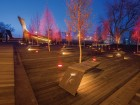 Poppy Plaza's wood deck is sprinkled with rows of benches and aspen trees. MBAC