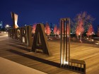 Sculptural letters announce the plaza to passing cars on Memorial Drive. MBAC