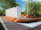 The Calgary Soldiers' Memorial features inscribed marble slabs, set on a platform that hovers above the ground. MBAC