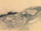 A blackline print of the Simon Fraser University site plan. CAA, Arthur Erickson Fonds