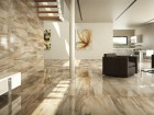Cisa Ceramiche's Jurassic line mimics natural stone with colour-striated graphics in a blended neutral palette.