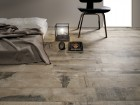 A rustic effect is achieved with the Old Wood series by Ceramiche Fioranese.