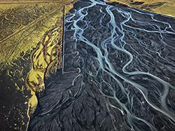 "edward burtynsky's chromogenic print ""arkafljot river #1, erosion control, iceland, 2012."" collection of the vancouver art gallery, gift of the artist.  Edward Burtynsky, Courtesy Nicholas Metivier Gallery/Paul Kuhn Gallery, Calgary"