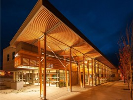 commercial wood design award was given to mike mammone of ratio architecture - interior design - planning for the salmon arm savings and credit union uptown branch. photo courtesy of Wood WORKS! BC