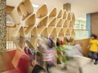 Denegri Bessai Studio used digital fabrication to craft kid-friendly storage cubbies for Huron Public School in Toronto. Alan Hamilton