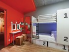 The basic dorm rooms include design elements from the main floor.