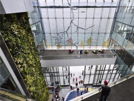 living wall in the corus quay building on toronto's harbourfront