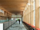 The rhythmic repetition of the wood structural elements offers a pleasing cadence to the linear atrium. Ema Peter