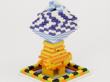 "lego tower component incorporated into the installation ""towers"" (2014), courtesy of douglas coupland and daniel faria gallery, made with the enthusiastic participation of children and their parents, interested adults and members of the vancouver lego club."