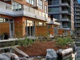 The LEED Platinum-targeted Dockside Green in Victoria, British Columbia aims to reclaim 15 acres of industrial waterfront, setting a model for urban redevelopment. Vince Klassen