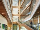 The structure makes extensive use of carbon-sequestering wood.