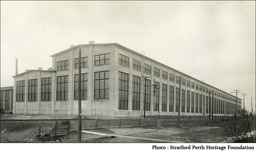 former GTR locomotive repair shops in stratford, ontario. photo courtesy of stratford perth heritage foundation.