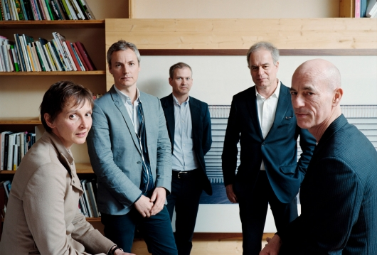 left to right: senior partners christine binswanger, ascan mergenthaler and stefan marbach, pierre de meuron, jacques herzog. photo  tobias madrin,  herzog & de meuron