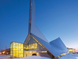 A boldly geometric steeple and roof mark the building's place in Sainte-Foy, west of downtown Quebec City.