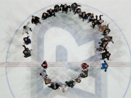 aercoustics team on the ice. photo by david crowder.