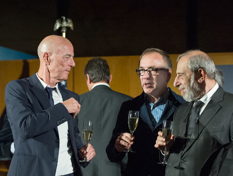 jacques herzog, wiel arets and alvaro siza at the MCHAP ceremony