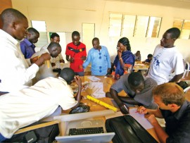 Gambian students in the Bachelor of Community Building and Design program engage in a design-build studio. The program is taught in part by Dalhousie faculty and graduates.