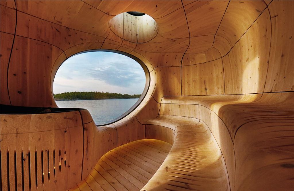 grotto in sans souci, ontario by partisan projects and moses structural engineers inc., winner of the ontario wood award