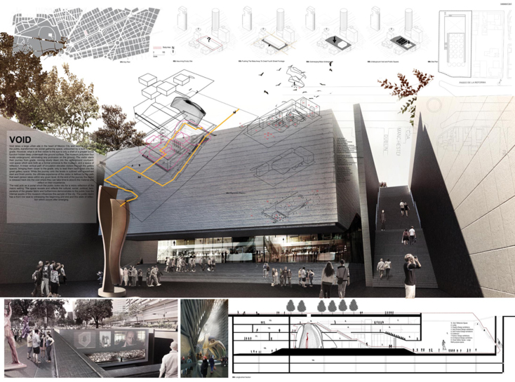a student team comprised of kate gonashvili, ki woon uh and lydon whittle from ryerson university's department of architectural science recently won first prize in the ArchTriumph competition for their proposed design of the mexico city design museum.