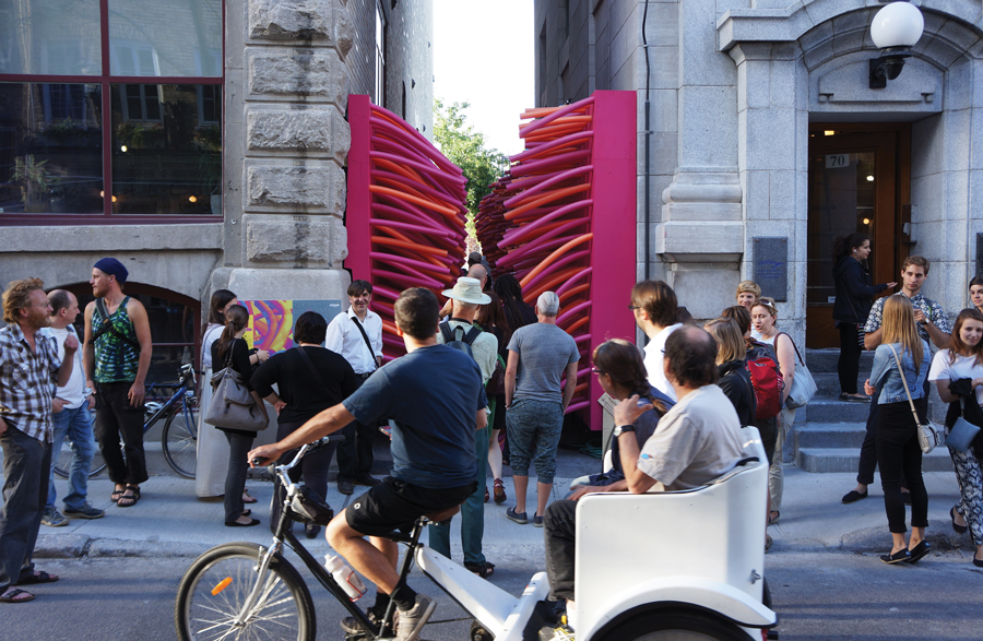 A team of recent Laval University graduates equipped a Quebec City alleyway with pool noodles this summer.