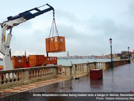 arctic adaptations crates being loaded onto a barge in venice, december 2014. photo by natalia woldarsky meneses.