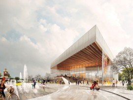 A large wood canopy extends over the plaza of the future performance hall.