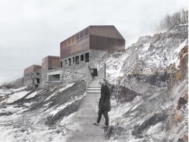 Composed of a string of buildings, a proposed rehabilitation and retreat centre slices through the harsh landscape of a decommissioned quarry site.