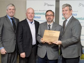 left to right: arthur potts, MPP beaches-east york (toronto), doug hietkamp and gene varaschin from teknion; and glen murray, minister of the environment and climate change.