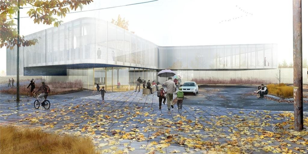 rendering of the drummondville public library by chevalier morales | DMA architects in consortium