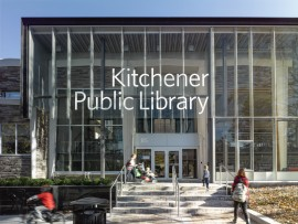 At the entrance to the Kitchener Central Library, the former facade is enclosed in a showcase-like vitrine.