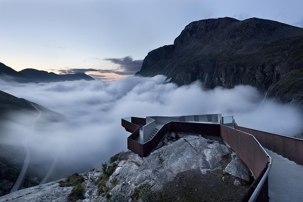 viewing platform in trollstigen, norway by architect reiulf ramstad arkitekter. photo by ken schluchtmann.