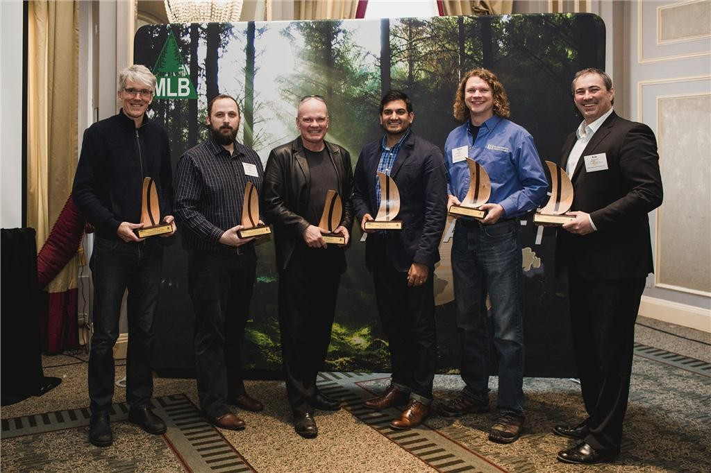 recipients of the atlantic wood design award. left to right: keith tufts (lydon lynch), michael colpitts (murdock & boyd), brian mackay-lyons (mackay-lyons sweetapple architects), omar gandhi (omar gandhi), mark gillis (gillis & company timber frames), rob menchenton (fougere menchenton).