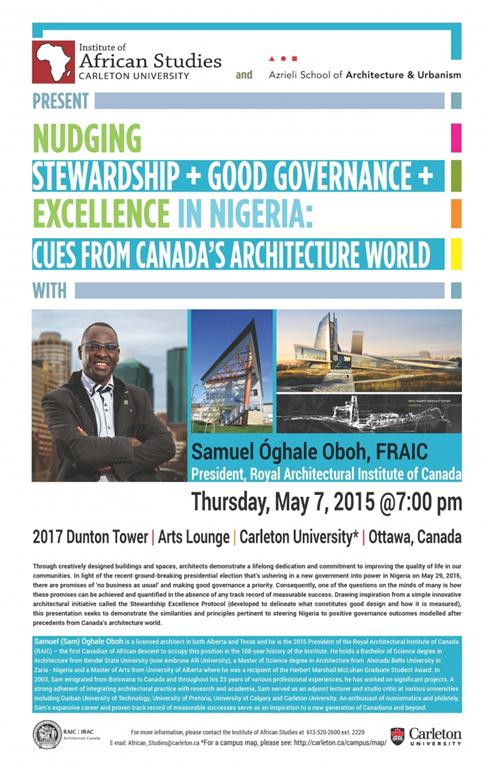 nudging stewardship + good governance + excellence in nigeria: cues from canada's architecture world