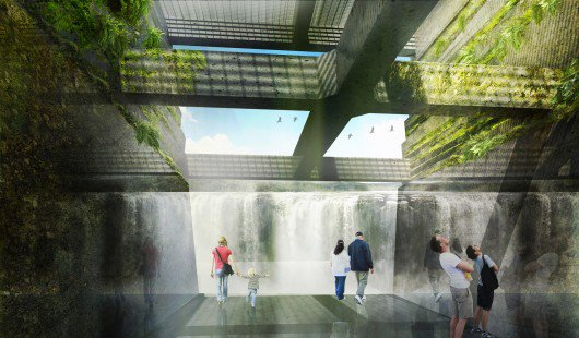 the design team's approach highlights the falls and the complex material layers of the site, serving as a portal to the northwest's collective history. the site's strata tells the story of deep geology, dynamic hydrology and vibrant ecology, together forming the spirit of place. rendering by snhetta.
