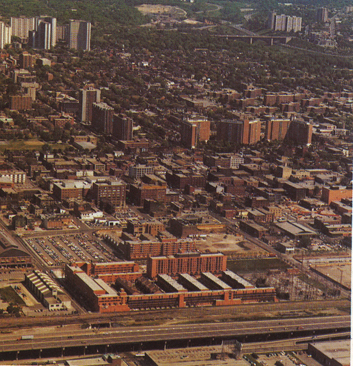 An aerial view from 1981 of Toronto's St. Lawrence neighbourhood, a renewal projects from the 1970s that has endured to the present.