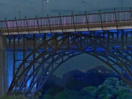 dereck revington's luminous veil on the bloor viaduct is finally lit. image courtesy of CBC.
