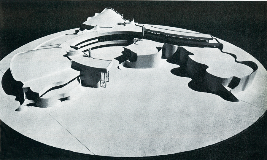 A view of the presentation model for the GPRC project, which was one of the first to use the bold curved forms that would become characteristic of Douglas Cardinal's architecture.