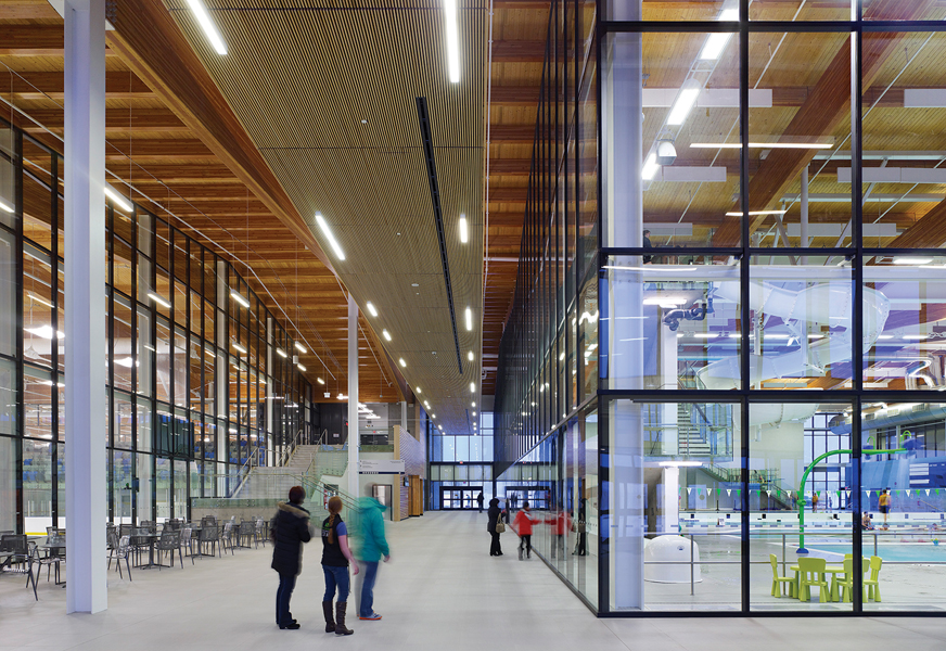 Perkins+Will and Group2 designed the new Meadows Community Recreation Centre and Meadows Library. The City of Edmonton decided on the team through a modified quality-based selection process.